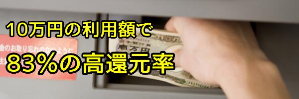 10万円の利用額で83%の高還元率