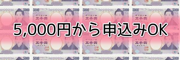 5,000円と少額から利用可能
